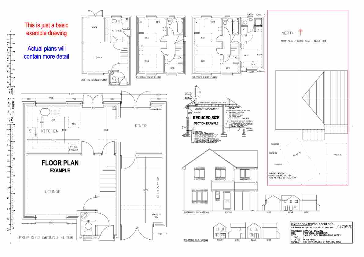 Swindon planning permission building regulations low for House extension drawings